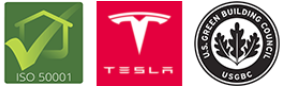 ISO 50001, Tesla, and USGBC icons