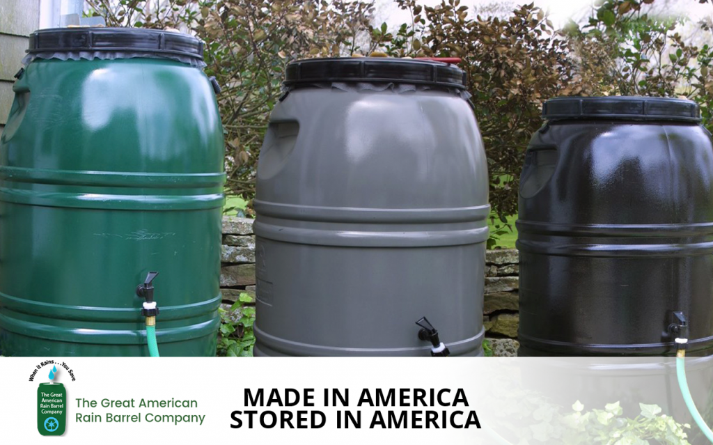 Rain barrels from The Great American Rain Barrel Company